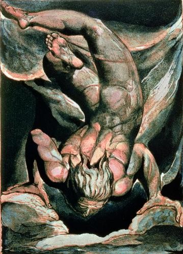 "cuadros de retrato - Cuadro ""The First Book of Urizen, Man floating upside down"" - Blake, William"