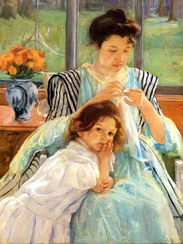 "cuadros de retrato - Cuadro ""1900 vers Young mother Sewing"" - Cassatt, Marie"