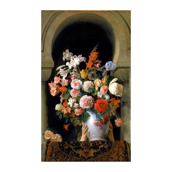 """Vase of flowers on a harem s window"""