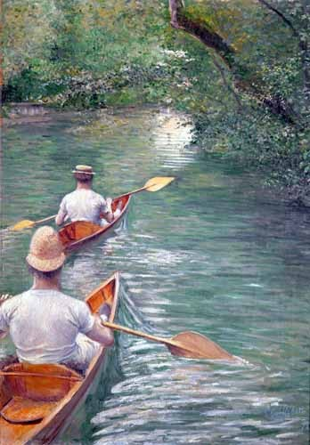 """cuadros de paisajes - Cuadro """"The Canoes, 1878"""" - Caillebotte, Gustave"""