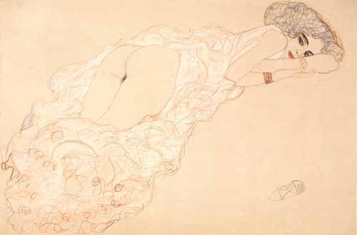 "cuadros de desnudos - Cuadro ""Reclining Nude Lying on Her Stomach and Facing Right, 1910"" - Klimt, Gustav"