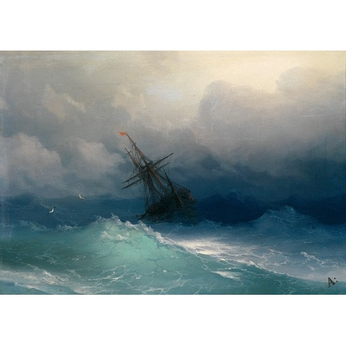 "Cuadro ""Ship on Stormy Seas"""