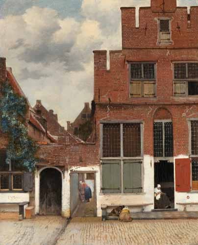 """cuadros de paisajes - Cuadro """"View of Houses in Delft, known as 'The little Street', 1658"""" - Vermeer, Johannes"""