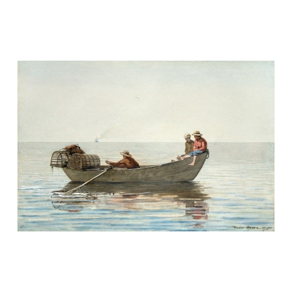 """""""Three Boys in a Dory with Lobster Pots, 1875"""""""