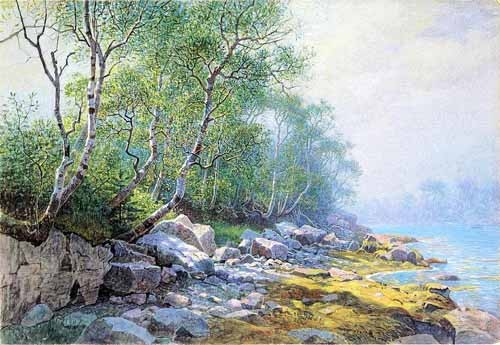 "cuadros de mapas, grabados y acuarelas - Cuadro ""Seal Harbor Mount Desert Maine"" - Haseltine, William"