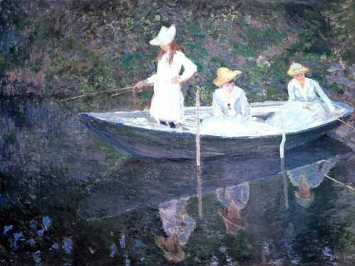 portrait and figure - In The Norvegienne Boat At Giverny 1887 - Monet, Claude