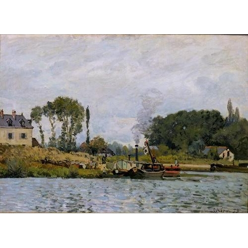 Comprar seascapes - Boats at the lock at Bougival, 1873 online - Sisley, Alfred
