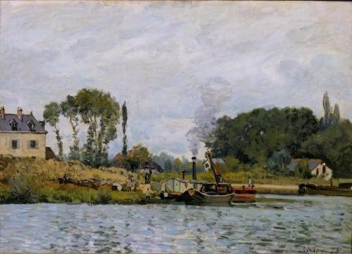 cuadros de marinas - Cuadro Boats at the lock at Bougival, 1873 - Sisley, Alfred