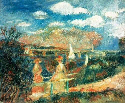 "cuadros de marinas - Cuadro ""The Banks of the Seine at Argenteuil, 1880"" - Renoir, Pierre Auguste"