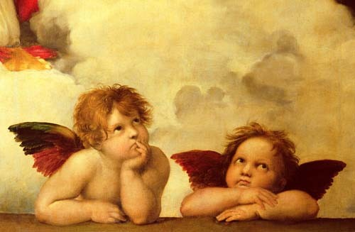 religious paintings - Los dos angeles - Rafael, Sanzio da Urbino Raffael