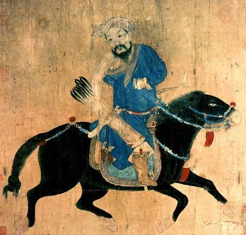 ethnic and oriental paintings - Arquero Mongolo a caballo - _Anónimo Chino