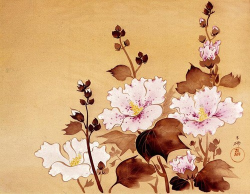 ethnic and oriental paintings - Flores blancas - _Anónimo Chino