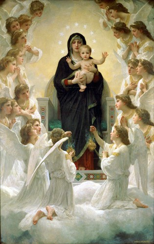 cuadros religiosos - Cuadro La Virgen y angeles - Bouguereau, William