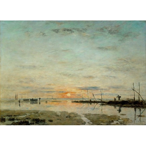 "cuadros de marinas - Cuadro ""Le Havre, Sunset at low tide"" - Boudin, Eugene"