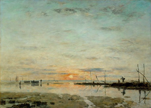 cuadros de marinas - Cuadro Le Havre, Sunset at low tide - Boudin, Eugene