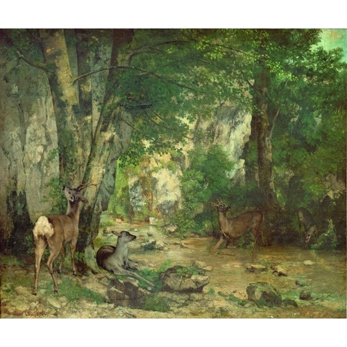 Comprar landscapes - A Thicket of Deer at the Stream of Plaisir Fountaine online - Courbet, Gustave