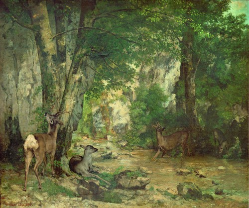 "cuadros de paisajes - Cuadro ""A Thicket of Deer at the Stream of Plaisir Fountaine"" - Courbet, Gustave"