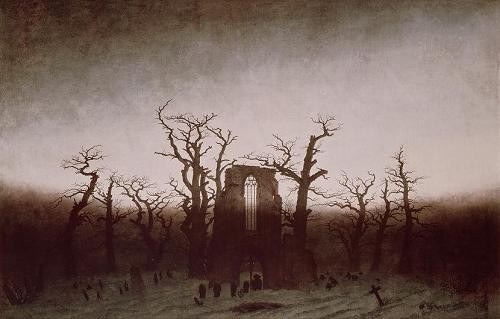 "cuadros de paisajes - Cuadro ""Abbey in the Oakwood, 1810"" - Friedrich, Caspar David"