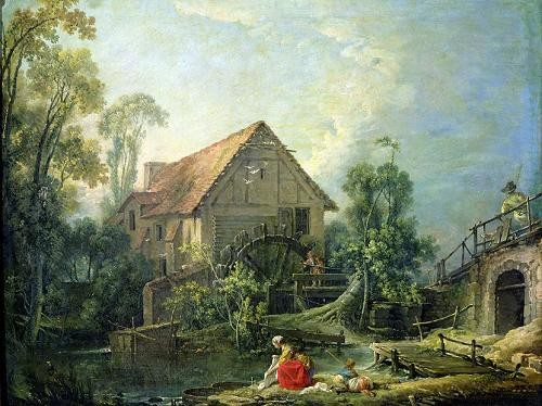 Comprar cuadros de paisajes - Cuadro The Mill, 1751 (oil on canvas) online - Boucher, François