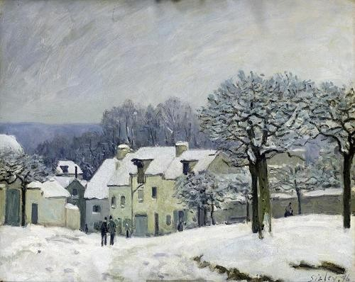 Comprar landscapes - The Place du Chenil at Marly-le-Roi, Snow, 1876 online - Sisley, Alfred