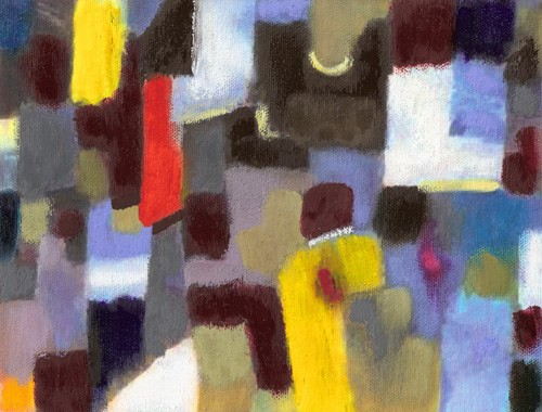 abstracts paintings - Abstracto _ Pareja y urbe (I). - Molsan, E.