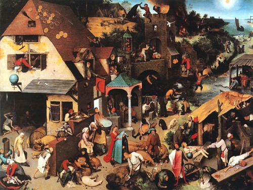 portrait and figure - The Netherlandish Proverbs - Bruegel