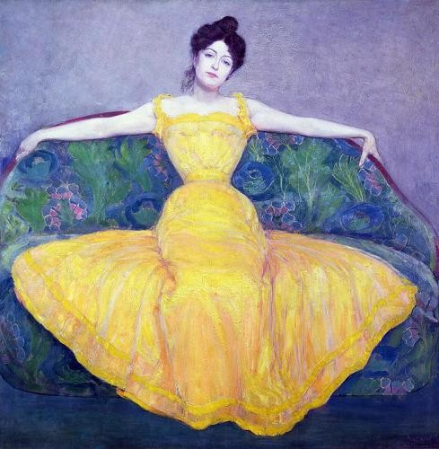 "cuadros de retrato - Cuadro ""Lady in a Yellow Dress, 1899"" - Kurzweil, Max"