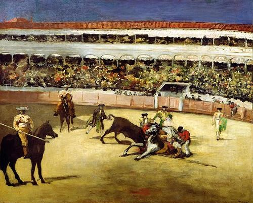 animals - Bull Fight, 1865 (Corrida de toros). - Manet, Eduard