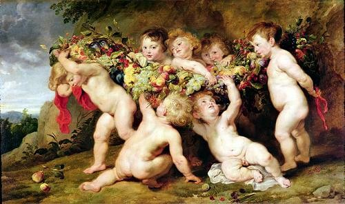 "cuadros de retrato - Cuadro ""Garland of Fruit, c.1615-17"" - Rubens, Peter Paulus"