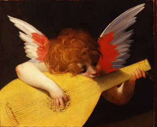 religious paintings - Angel tocando el laúd - Fiorentino, Rosso