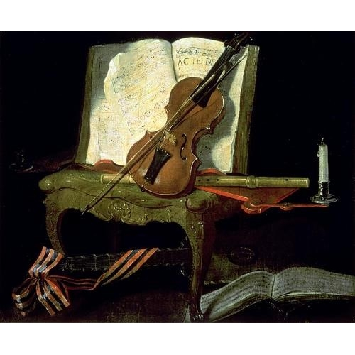 """Still Life with a Violin (oil on canvas)"""