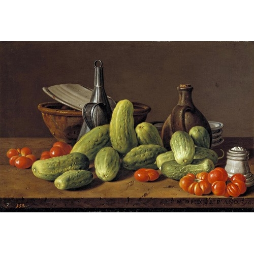 Comprar Still life paintings - Pepinos y tomates online - Melendez, Luis