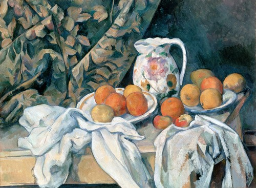 Still life paintings - Bodegón con cortina y jarra de flores - Cezanne, Paul