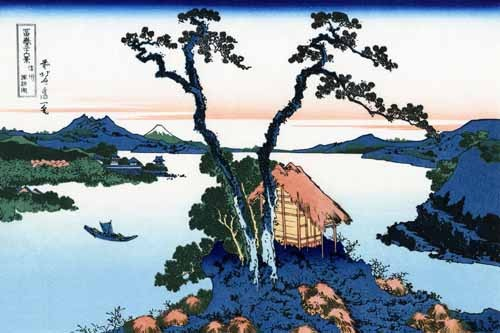 ethnic and oriental paintings - Lake Suwa in the Shinano province - Hokusai, Katsushika