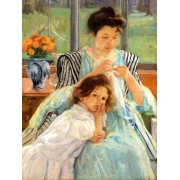 Cuadro 1900 vers Young mother Sewing