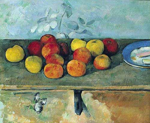 Still life paintings - Bodegón con manzanas y galletas(1880-82) - Cezanne, Paul