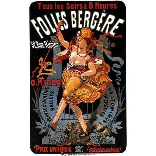 Cuadro Cartel: Espectaculos en Folies Bergere, 32 rue Richer