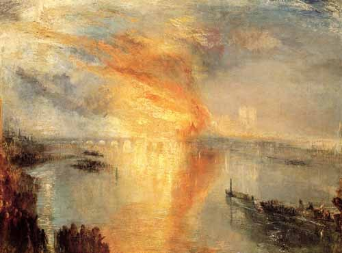 landscapes - The burning of the house of L - Turner, Joseph M. William