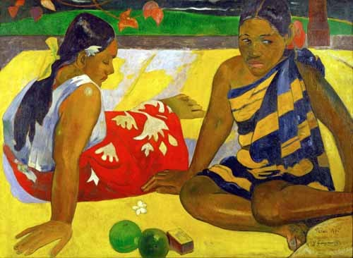 portrait and figure - Two women from Tahiti (Oil on canvas) (1892) - Gauguin, Paul