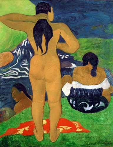 portrait and figure - Tahitian women on the beach,1892 - Gauguin, Paul