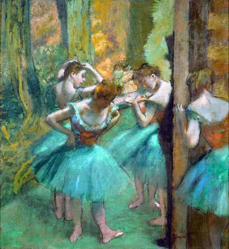 "cuadros de retrato - Cuadro ""Pink and Green Dancers, 1890"" - Degas, Edgar"
