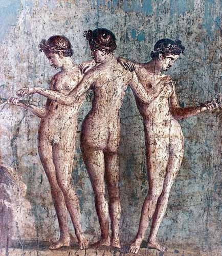 decorative paintings - Las tres Gracias- Frescos de Pompeya - _Anónimo Romano