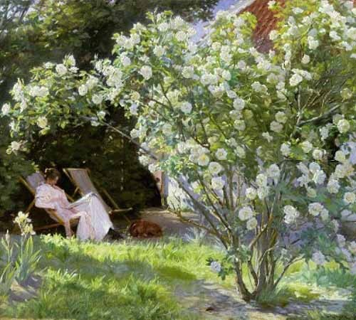 cuadros de flores - Cuadro Line Roses (The artists wife at Skagen) - Kroyer, Peder Severin