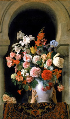 cuadros de flores - Cuadro Vase of flowers on a harem s window - Hayez, Francesco