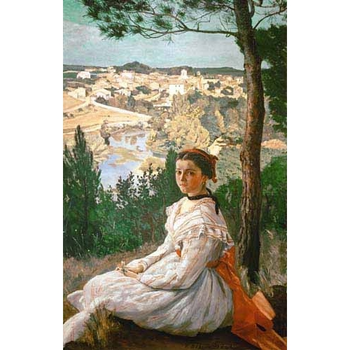Comprar  - Cuadro Girl in a striped dress online - Bazille, Frederic