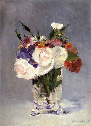 Comprar decorative paintings - Flores en un jarrón de cristal online - Manet, Eduard