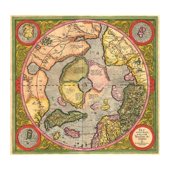 """Antique Map, Mercator North Pole"""