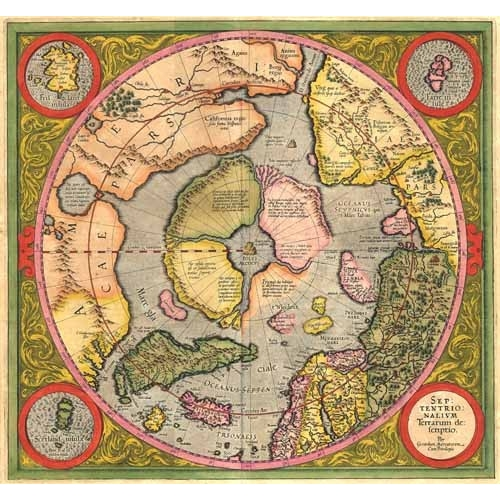 Cuadro Antique Map, Mercator North Pole