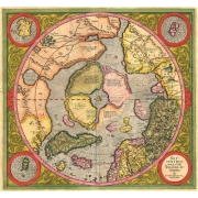 Antique Map, Mercator North Pole