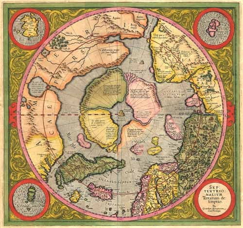 cuadros de mapas, grabados y acuarelas - Cuadro Antique Map, Mercator North Pole - Mapas antiguos